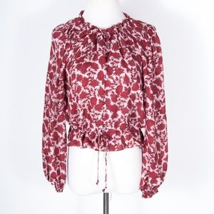 Intermix 100% Silk Red Floral Tie Front Blouse